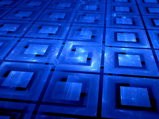 Blue glowing connected multiprocessors