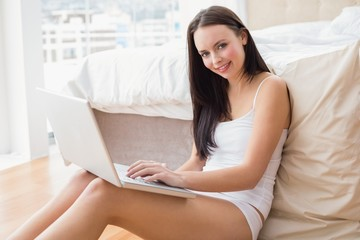 Pretty brunette using laptop sitting on floor