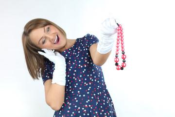 Stylish teenager  wearing polka dots dress