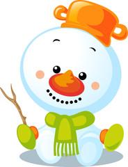 christmas character - cute vector snowman