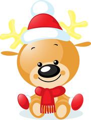 cute reindeer with santa cap - vector illustration
