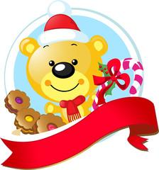 christmas design with cute vector bear