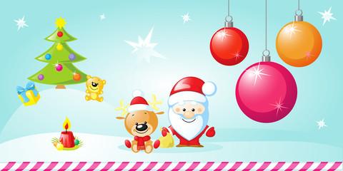 christmas design with xmas balls and Santa Claus