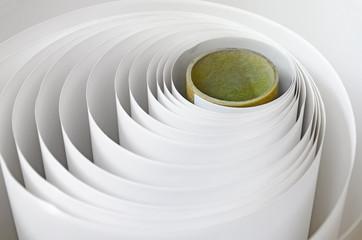 Topshot macro Paper roll in a printshop