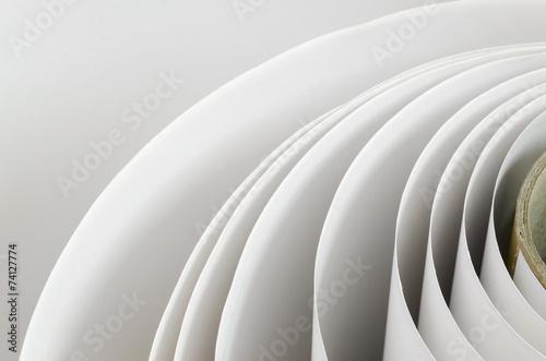 Fototapeta Topshot macro Paper roll in a printshop