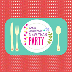 New year party greeting card background dinner concept