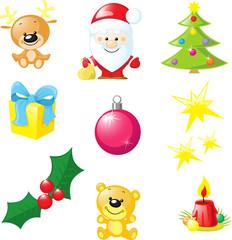 christmas icon - santa, xmas tree, candle, reindeer, star, gift,