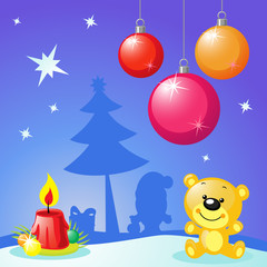 christmas design with xmas balls, candle and bear