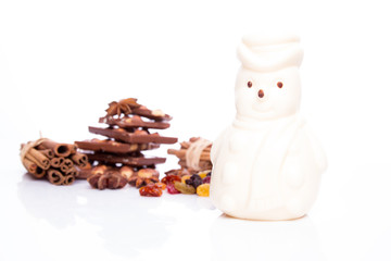 White snowman with white chocolate