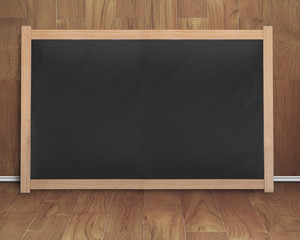 empty interior room with black blank chalkboard
