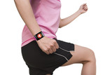 sport woman wearing bright pink watchband curved touchscreen sma poster
