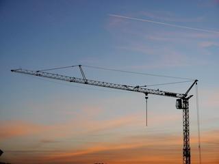 crane sunset silhouette