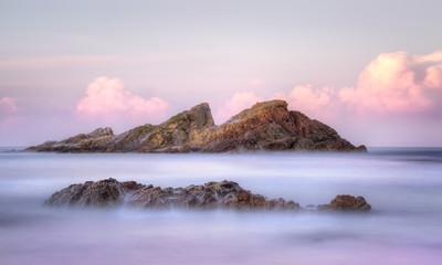 Statis Rock  off Sugarloaf Bay Seal Rocks NSW Australia at sunse