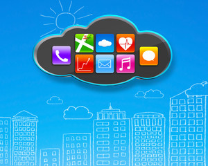 app icons on black cloud with sky blue buildings doodles