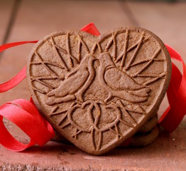 chocolate cookies in the shape of heart, symbol of love