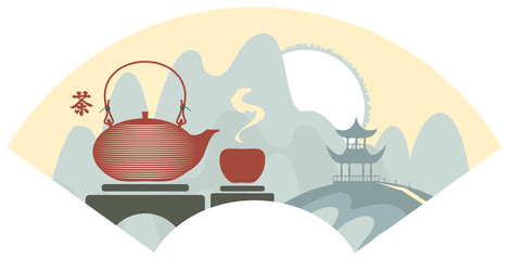 Mountain Chinese landscape with pagoda and teapot and cup