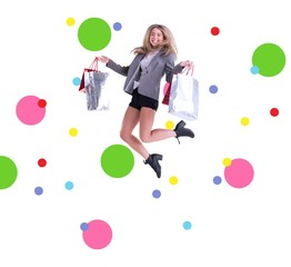 Composite image of stylish blonde jumping with shopping bags