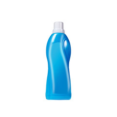 Softener in blue plastic bottle isolated on white