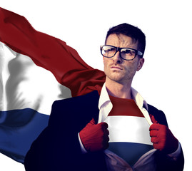 Businessman Superhero Country Netherlands Flag Culture Power Con