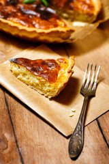 Appetizing tart served with fresh herbs