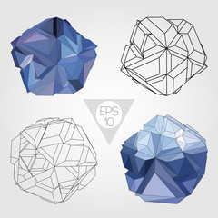Abstract 3D sphere. Vector set.