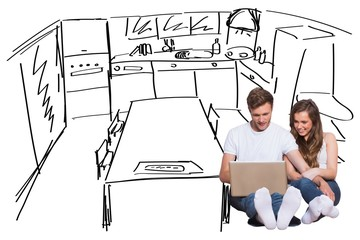 Composite image of young couple using laptop on floor