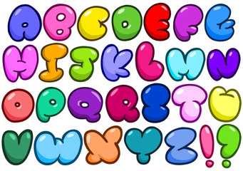 Comic bubble alphabet