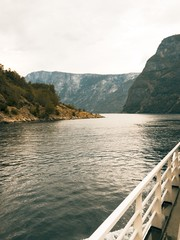 boat railing on ferry of naeroyfjord, norway