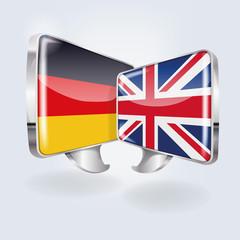 Sprechblasen mit deutsch und englisch
