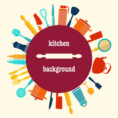 Pattern of Kitchen utensil kitchen-background