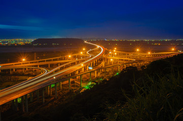 night view of interchange of highway in Taichung, Taiwan