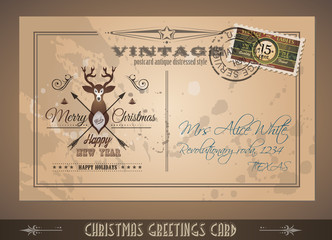 Vintage Postacard for Christmas greetings cards