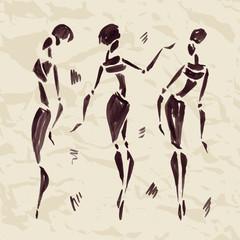 Figures of african dancers. Hand drawn Illustration.
