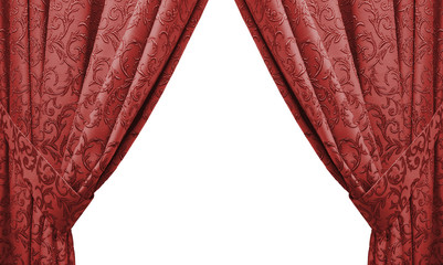 beautiful red curtain in a classic style. isolated