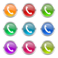 phone colorful vector icons set