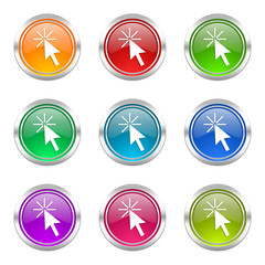 click here colorful vector icons set