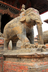 Elephant guarding the Shiva Temple in Patan