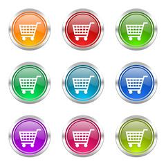 shop cart colorful vector icons set
