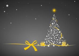 Weihnachtsbaum Sterne gold Schleife