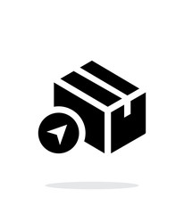 Location shipment box simple icon on white background.