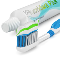 Toothbrush and toothpaste isolated