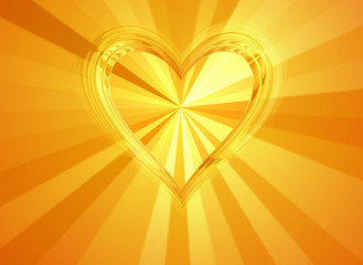 3d big gold heart with sun rays backgrounds