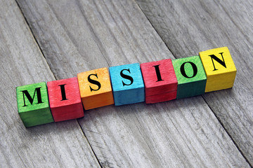 concept of mission word on colorful wooden cubes