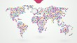colored map of the world made up of small polka dots with global