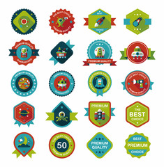 Space badge banner flat design background set, eps10