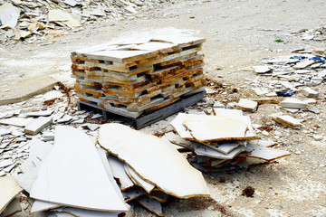 limestone stone slabs in quarry