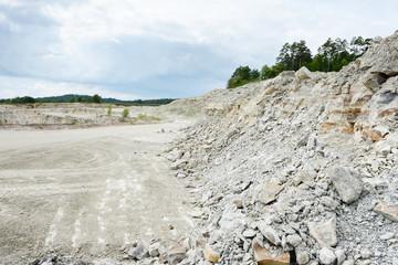 sedimentary rocks at a limestone quarry
