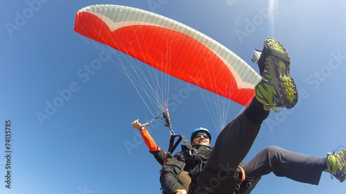 Fototapeta Paraglider tandem from below