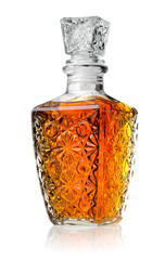 Crystal decanter with cognac