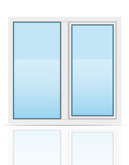 plastic transparent window view outdoors vector illustration